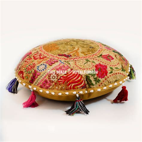 Handmade Patchwork - green small india handmade patchwork floor sitting