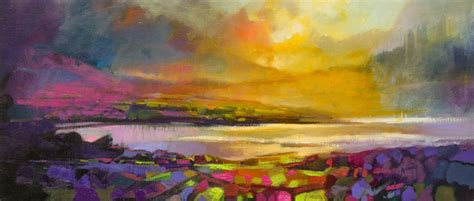 Sold 30 X 70cm Highland Heather Scott Naismith Abstract Landscape Painting
