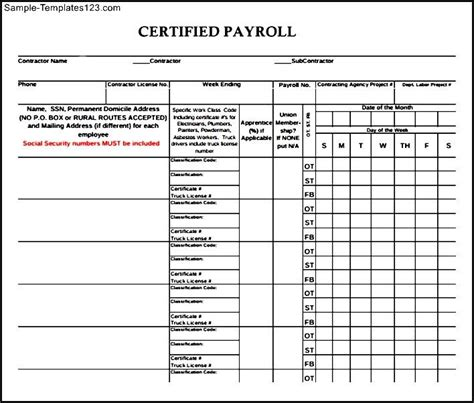 payroll forms templates downloadable certified payroll form sle templates