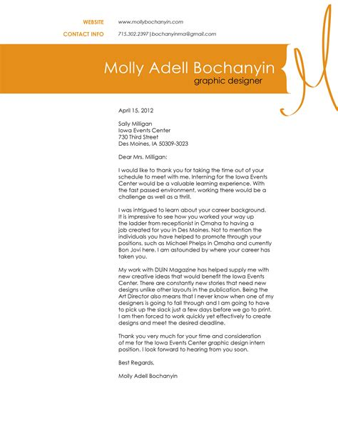 graphic design covering letter letter sle application letter for graphic designer