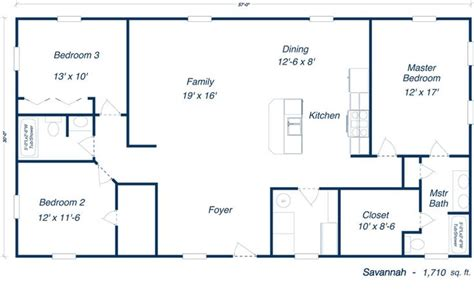 steel home floor plans savannah steel home kit plan open layout floorplans