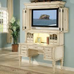 hooker shabby chic computer desk with optional tv hutch at hayneedle