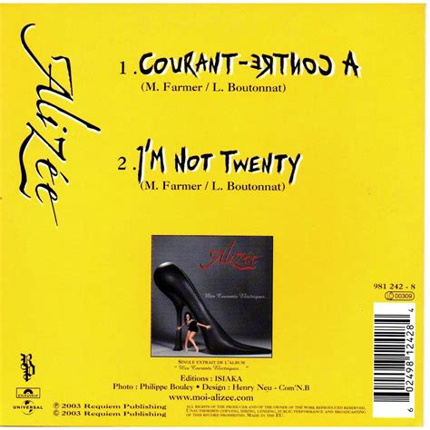 a contre courant i m not twenty by alizee cds with