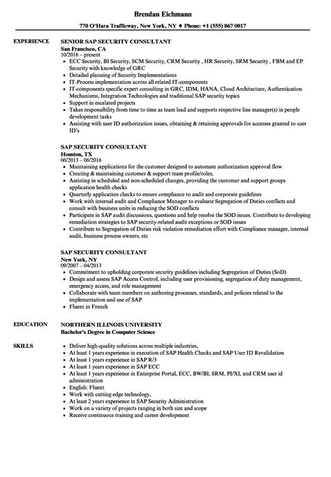 Security Resume Sles by Sap Security Consultant Resume Sles 28 Images Sap