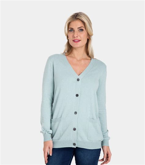 V Neck Cotton Cardigan pale blue 10 90 cotton womens and