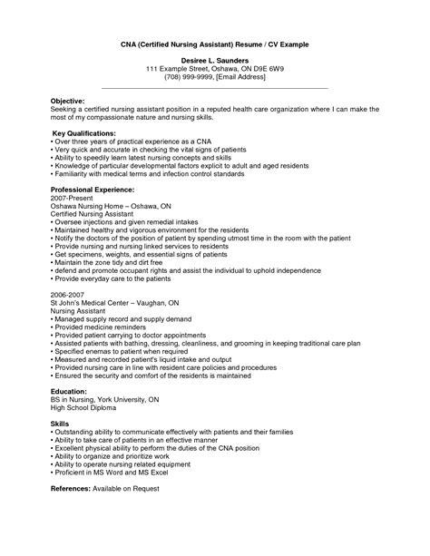 certified nursing assistant resume objectives cna resume template