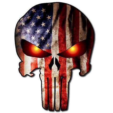 Punisher Skull American Flag Decal Punisher Skull American Flag On Glow Burning Us Sticker Decal 648620473370 Ebay