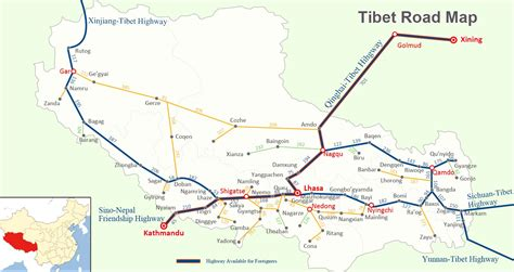 road map tibet road map road map of tibet