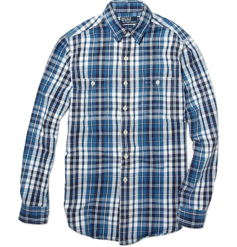 Flannel Topman Kemeja Topman Blue Patch polo ralph s indigo plaid workshirt in blue for