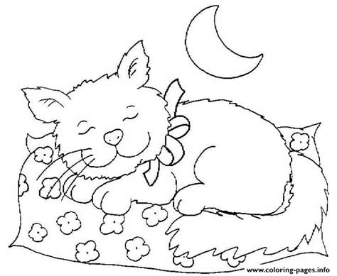 sleepy cat coloring page cat sleeping at night 491f coloring pages printable
