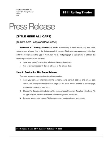 Album Press Release Template by Rolling Thunder Press Release Template
