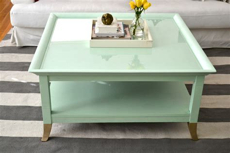Mint Coffee Table with Gold Feet: A Makeover!   Little Bits of