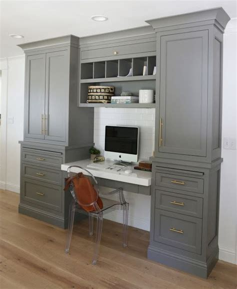 Home Office Built In Cabinets Painted Grey Cabinets Office Built In Cabinets