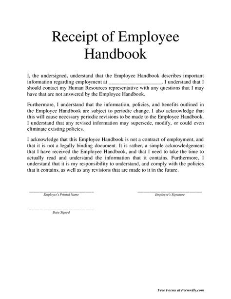 policy acknowledgement form template employee handbook acknowledgement of receipt pictures to