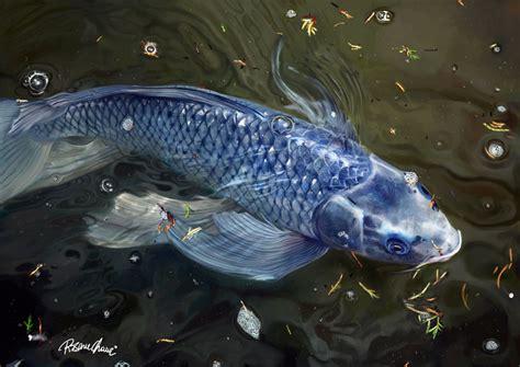 blue koi fish blue koi digital painting by rosane chawi on deviantart