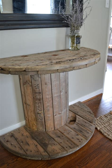 Spool Tables by Diy Wooden Spool Console Table Crooked