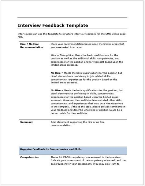 Candidate Interview Feedback Report Template Clickstarters Feedback Report Template