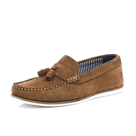 boat shoes with tassels river island brown suede tassel boat shoes in brown for