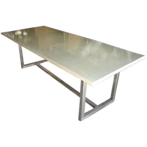 Concrete Top Dining Table With Steel Base At 1stdibs Steel Dining Table