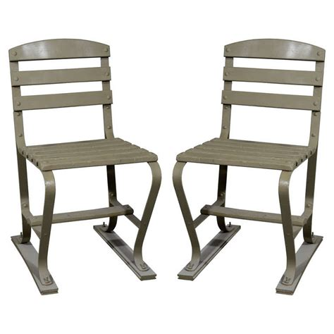 1930s Deco Metal Fan Back Garden Set Table American Wood And Metal Garden Chairs For Sale At 1stdibs