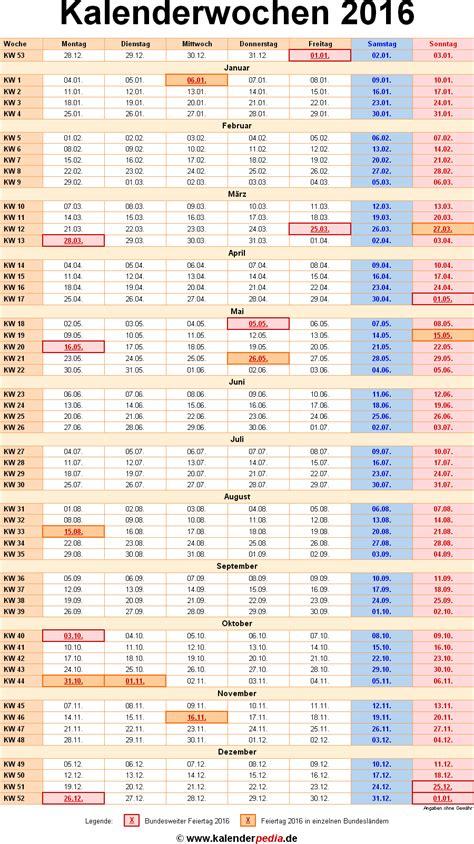 Kalender Mit Kw Kalenderwochen 2016 Mit Vorlagen F 252 R Excel Word Pdf