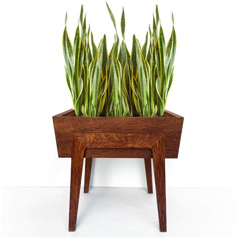 Mid Century Modern Planters by Vintage Mid Century Modern Wood Planter