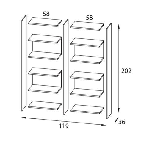 byblos5 libreria separa ambienti autoportante bifacciale