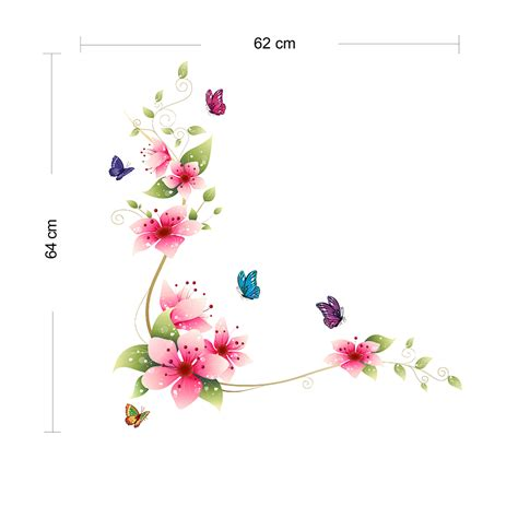 wall flower stickers colorful flowers butterfly removable pvc diy decal mural
