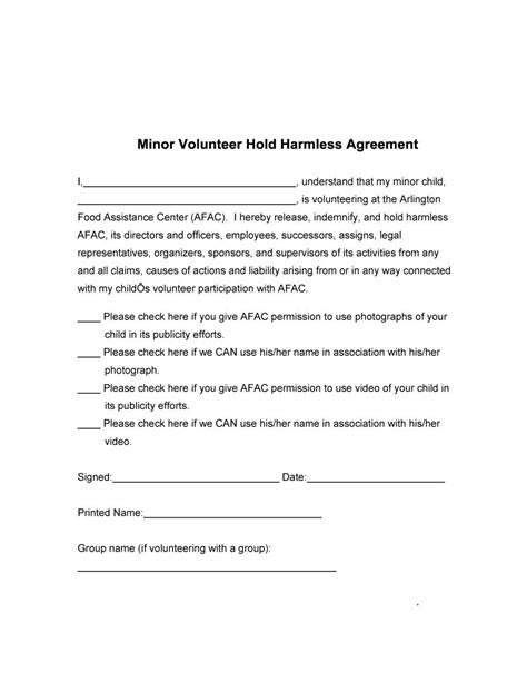 free indemnity form template 40 hold harmless agreement templates free template lab