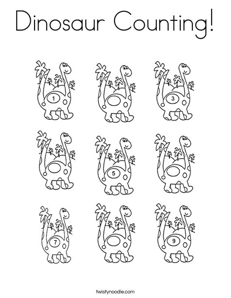 Dinosaur Counting Coloring Page Twisty Noodle Counting Coloring Pages