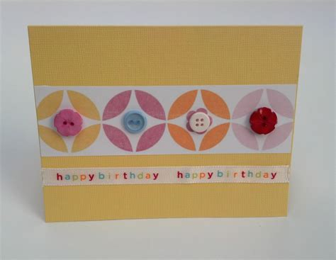 Handmade Cards With Buttons - handmade birthday geometric button greeting card with