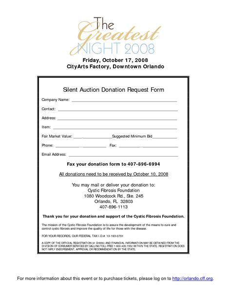 Donation Letter For Silent Auction Items Silent Auction Donation Form Template Chainimage