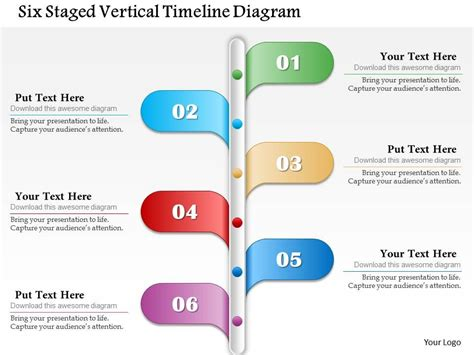 Six Staged Vertical Timeline Diagram Powerpoint Template Vertical Timeline Template Powerpoint