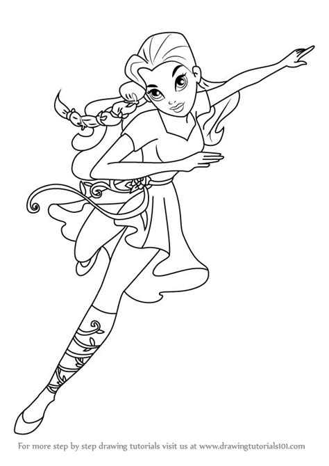 coloring page girl superhero how to draw poison ivy from dc super hero girls step 0 png