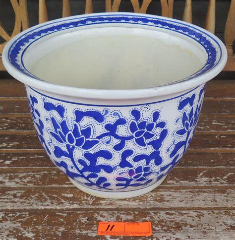10 Ceramic Planter White - blue and white ceramic planter 10 quot h 14 quot dia