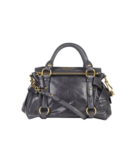 Valentino Laminated Vitello Bow Tote by Miu Miu Mini Grey Vitello Bow Bag In Gray Grey Lyst