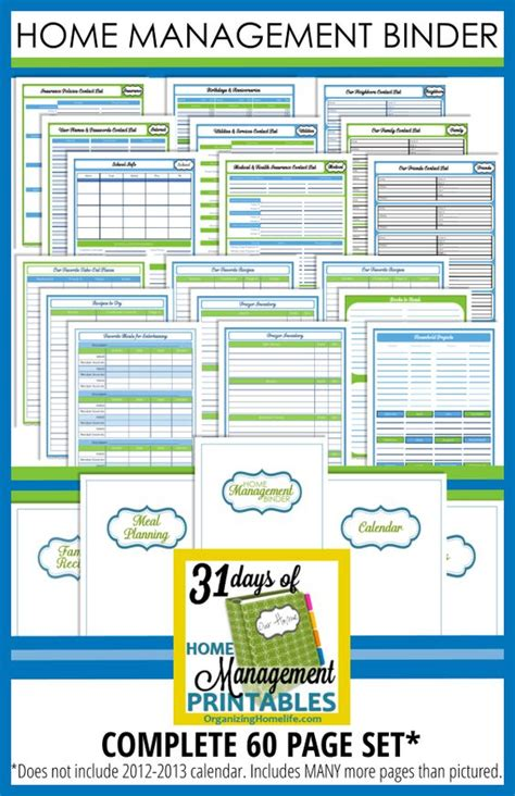 free printable home organizer notebook printable home planner organizing home management binder