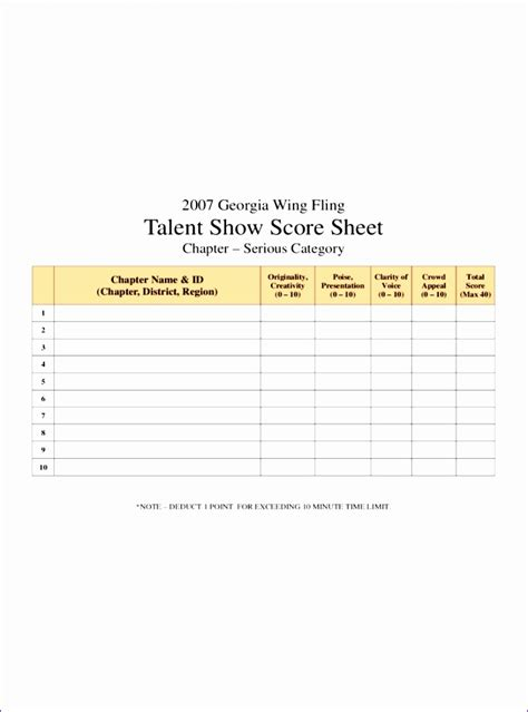 talent show score card template 5 excel invoice templates free exceltemplates