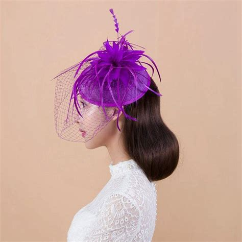 Vintage Purple Wedding Hair Accessories by Purple Bridal Wedding Hats Fascinator Hair