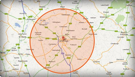map of and surrounding areas areas covered cambridge