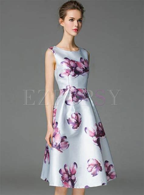 Print Sleeveless A Line Midi Dress sleeveless flower print a line midi dress ezpopsy