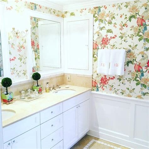 bathroom wallpaper ideas pinterest small master bathroom design ideas with floral wallpapers