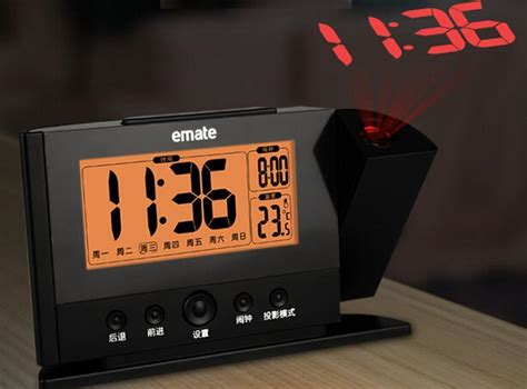 Alarm Clock With Light On Ceiling Projection Alarm Clock Projecting To Wall Ceiling Display Weekday Temperature Orange Backlight
