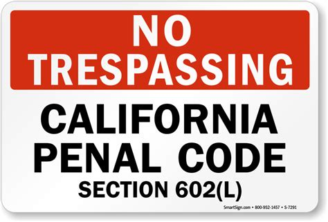 section 215 criminal code no trespassing california penal code sign no trespassing
