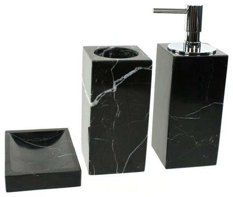 Black Marble Bathroom Accessory Set In 3 Pieces Bathroom Accessories Black