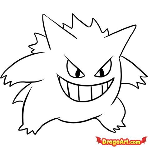 easy drawing how to draw gengar step by step characters