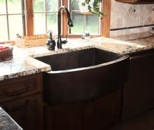 hammered copper apron front sink traditional kitchen