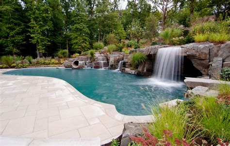 inground pool with waterfall new jersey inground pool company earns international award
