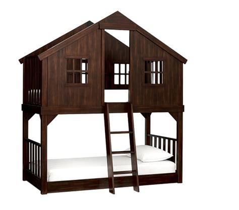 treehouse twin loft bed tree house twin over twin bunk bed pottery barn kids