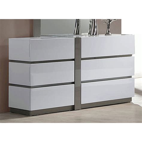 Glossy White Dresser by Manila 6 Drawer Dresser Glossy White Gray Accents Dcg